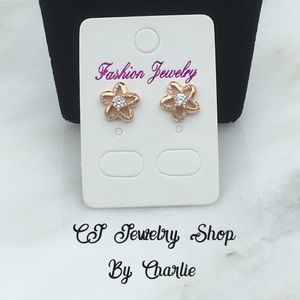 Rose Gold Plated CZ Star Stud Earrings